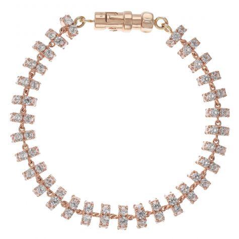"Heavy 9ct Rose Gold Cubic Zirconia Set Tennis Bracelet - 9.75"""