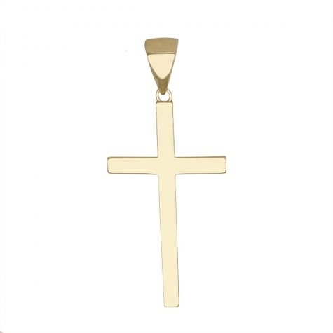9ct Yellow Gold Solid Classic Polished Cross Pendant - Size 5