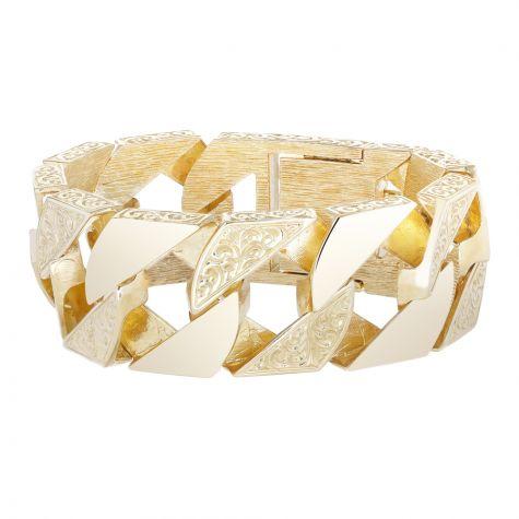 """9ct Gold Solid Large Ornate Curb Bracelet  - 28mm - 9.25"""" - Gents"""