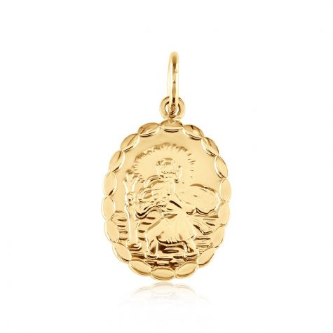 9ct Yellow Gold Double Sided Oval St Christopher Pendant - 15mm