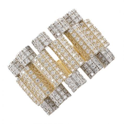 "9ct Gold Gem Set Rolex Style ""Presidential"" Ring Size V - Gents"