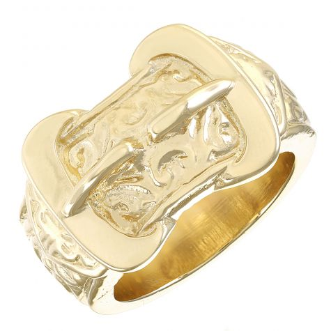 9ct Gold Solid Heavy Large Ornate Double Buckle Ring  - Gent's