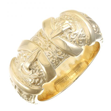9ct Gold Solid Ornate Patterned Double Buckle Ring - Gents