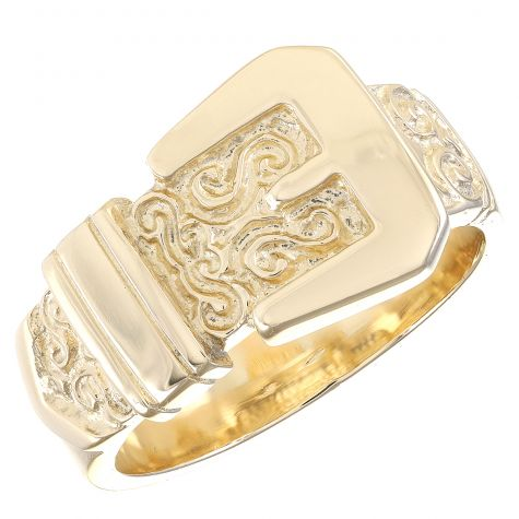 Solid 9ct Yellow Gold Ornate/Polished Deluxe Buckle Ring- Gent's