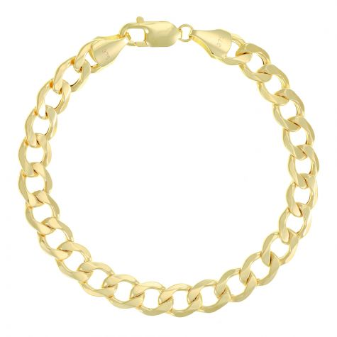 "SEMI SOLID - 9ct Gold Italian Curb Bracelet - 9mm - 8.5"" Gents"