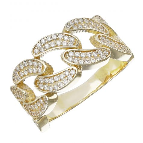 9ct Gold Gem Set Cuban Style Ring  - Small Size W - Gents