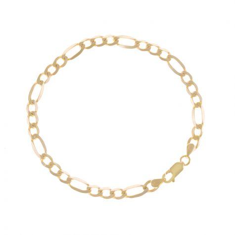 "SOLID 9ct Gold Italian Diamond Cut Figaro Bracelet - 5mm - 7.25"" Ladies"