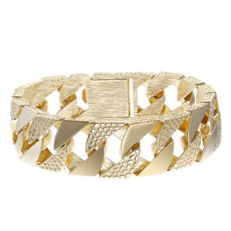 """9ct Gold Heavyweight Patterned Curb Bracelet - 19mm - 9"""" - Gents"""