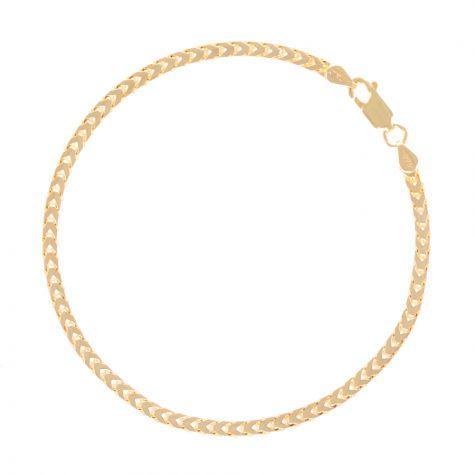 "SOLID 9ct Gold Italian Franco / Foxtail Bracelet - 3mm - 8.5"" Gents"