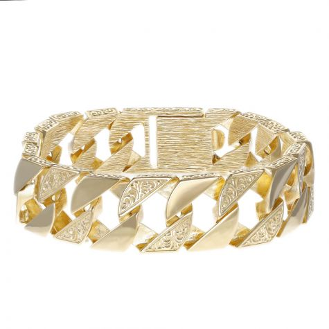 "9ct Gold Solid Patterned Curb Bracelet - 19.5mm - 8.75"" - Gents"