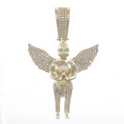 9ct Yellow Gold Cubic Zirconia Iced Out 3D Cherub Pendant