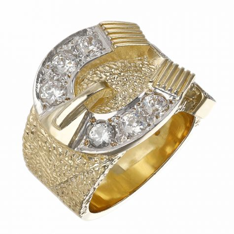 9ct Yellow Gold Solid Gem-Set Heavy Horse Shoe Ring - Gents