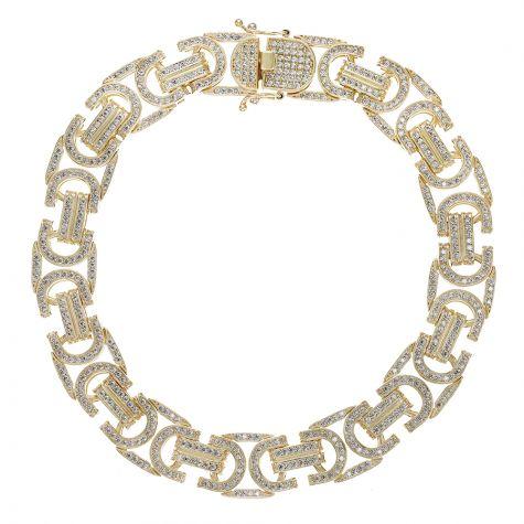 "9ct Yellow Gold Heavy Gem-Set Flat Byzantine Bracelet - 12mm - 9"""