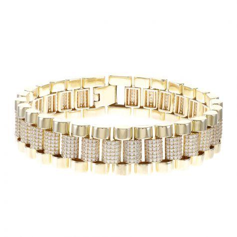 "Rolex 9ct Gold Gem-Set Bracelet - 6.5 "" - Ladies - EXTRA WIDE"