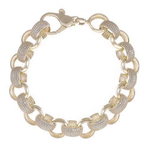 """9ct Yellow Gold Gem-Set Round Belcher Bracelet - 12mm - 9.25"""""""