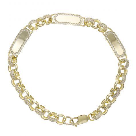 """9ct Gold Gem-Set ID Belcher Bracelet - 7.5mm - 6. """" - Child"""