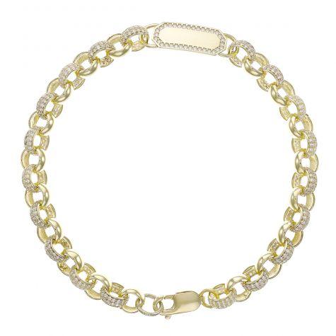 "9ct Yellow Gold Gem-Set ID Belcher Bracelet - 7.5mm - 8""- Ladies"