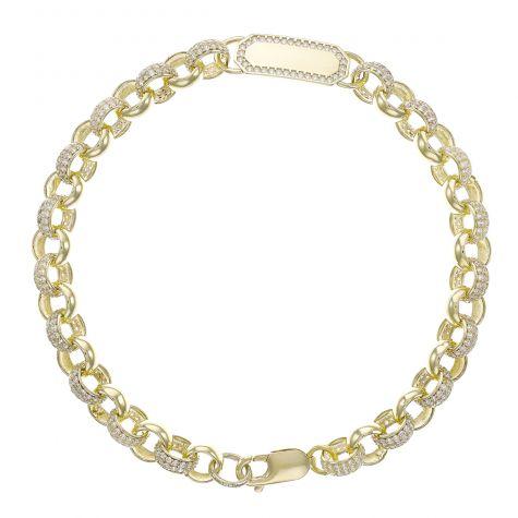 "9ct Yellow Gold Gem-Set ID Belcher Bracelet -7.5mm - 6"" -Baby"