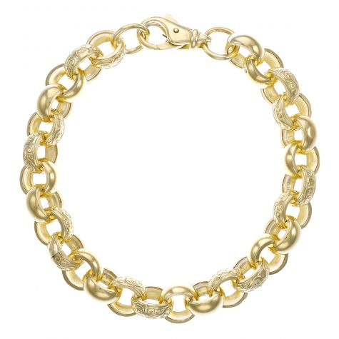 """9ct Gold Heavy Solid Ornate Belcher Bracelet -12.5mm -10"""" Mens"""