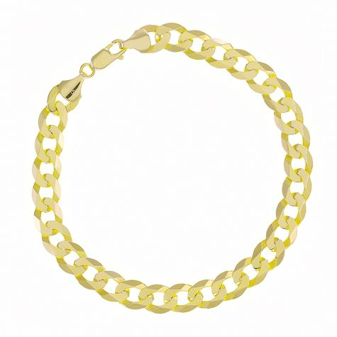 """9ct Yellow Gold Solid Italian Bevelled Edge Curb - 7mm - 8.5"""""""