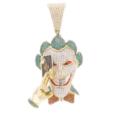 9ct Yellow Gold Iced Out Cubic Zirconia Joker Head Pendant