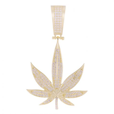 9ct Yellow Gold CZ Gem - Set Cannabis / Marijuana Pendant