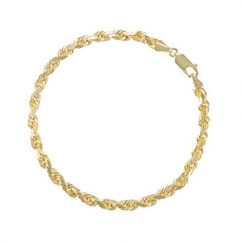 "SOLID 9ct Gold Italian Diamond Cut Rope Bracelet - 4mm -7.5"" Ladies"