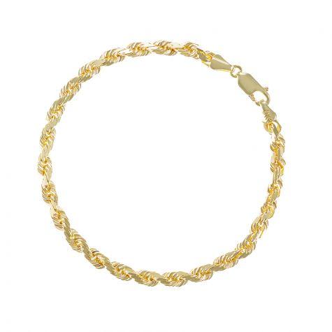 "SOLID 9ct Gold Diamond Cut Rope Bracelet - 4mm - 8.5"" - Gents"
