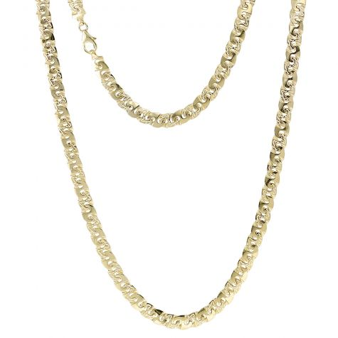 """9ct Yellow Gold Solid Patterned Mariner Style Chain 7mm - 26.25"""""""