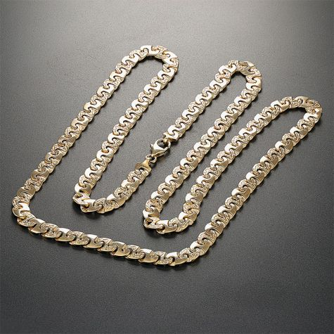 """9ct Yellow Gold Solid Patterned Mariner Style Chain - 7mm -  30"""""""