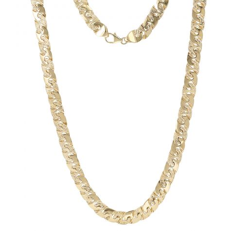 """9ct Gold Solid Patterned & Polished Mariner Chain 8.5mm -22"""""""