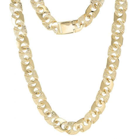 """9ct Yellow Gold Solid Patterned Mariner Chain - 12.5mm - 28"""""""