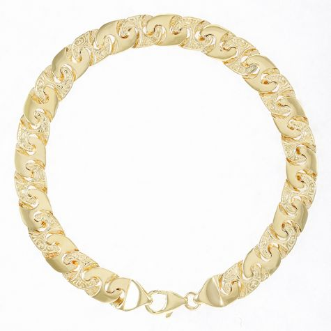 "Solid 9ct Yellow Gold Ornate Mariner Bracelet - 8 .5mm - 9"" Gents"