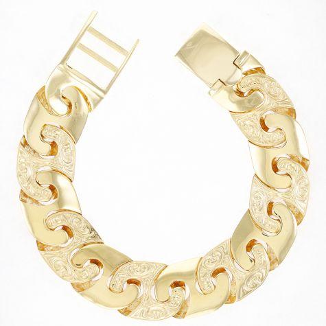 """9ct Gold Solid Ornate Mariner Bracelet - 19mm - 8.25"""" - Gents"""