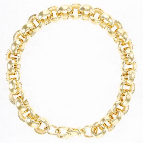 """Solid 9ct Gold Heavy Belcher Bracelet 10mm - 8.25"""" Ladies"""