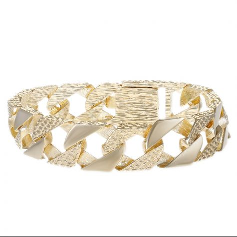 """9ct Gold Solid Textured Square Curb Bracelet - 16mm - 8.5""""- Gents"""