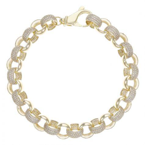 """9ct Yellow Gold Heavy Gem-Set Round Belcher Bracelet - 11mm - 8"""""""