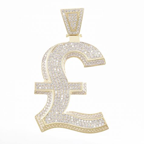 9ct Yellow Gold Cubic Zirconia Iced Out 3D Pound Sign Pendant