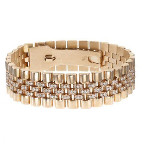 Custom Rolex Style 9ct Rose Gold 5ct VS Diamond Jubilee Bracelet
