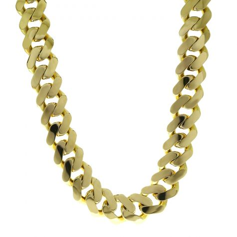 """9ct Yellow Gold Classic Cuban Link Curb Chain - 22""""  - 23mm"""