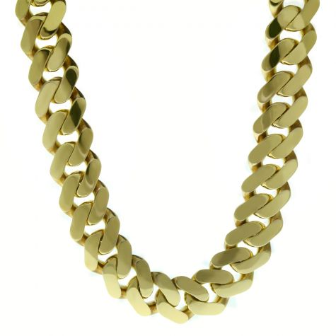 """9ct Yellow Gold Classic Cuban Link Curb Chain 22"""" - 25.5mm"""
