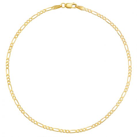 """9ct Yellow Gold Italian Figaro Design Anklet - 2.25mm - 10"""""""