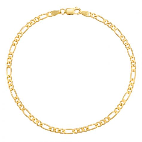 """9ct Yellow Gold Italian Figaro Design Anklet - 3.75mm - 10"""""""
