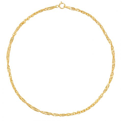 9ct Yellow Gold Singapore Link Design Anklet - 2.25mm - 10""