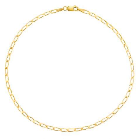 9ct Yellow Gold Italian Curb Design Anklet - 2.5mm - 10""