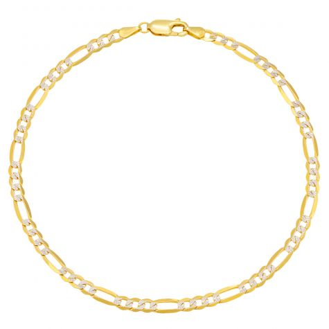 9ct Yellow & White Gold Italian Figaro Design Anklet - 4mm - 10""