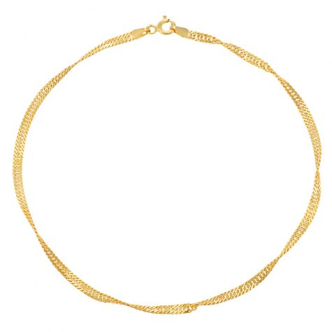 9ct Yellow Gold Italian Semi Solid Singapore Link Anklet - 10""