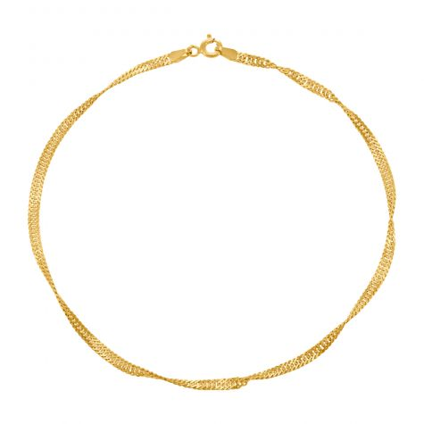 """9ct Yellow Gold Italian Semi Solid Singapore Link Anklet - 10"""""""