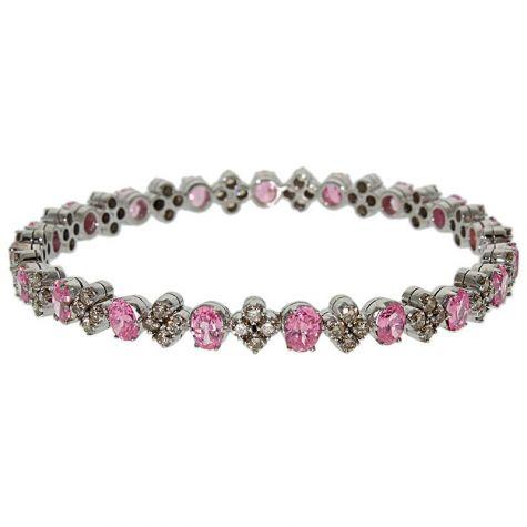 "CERTIFIED 18ct Gold 3.80ct Diamond & Pink Gemstone Bangle 7"""