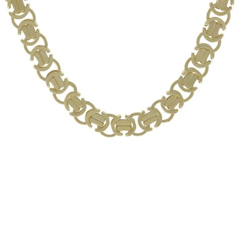 """9ct Solid Yellow Gold Unique Flat Byzantine Chain - 22"""" - 10mm"""